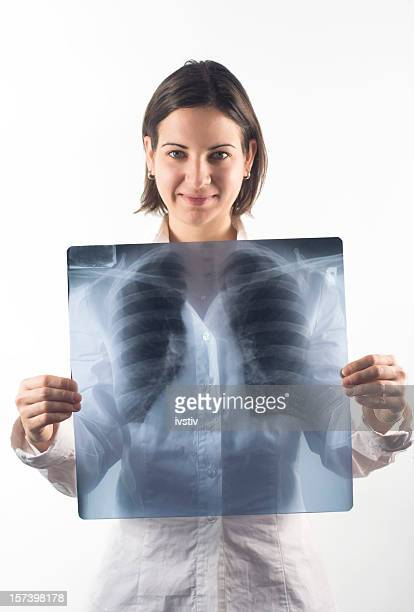 Woman holds X-ray lung