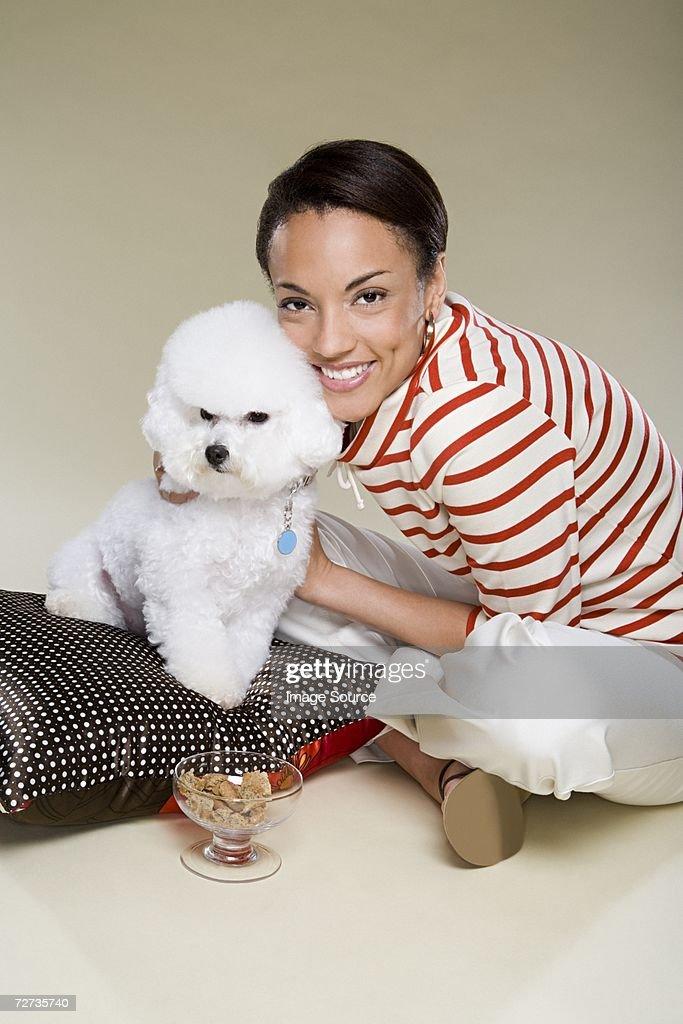 Woman hugging dog : Stock Photo
