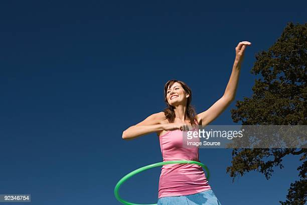 Woman hula hooping