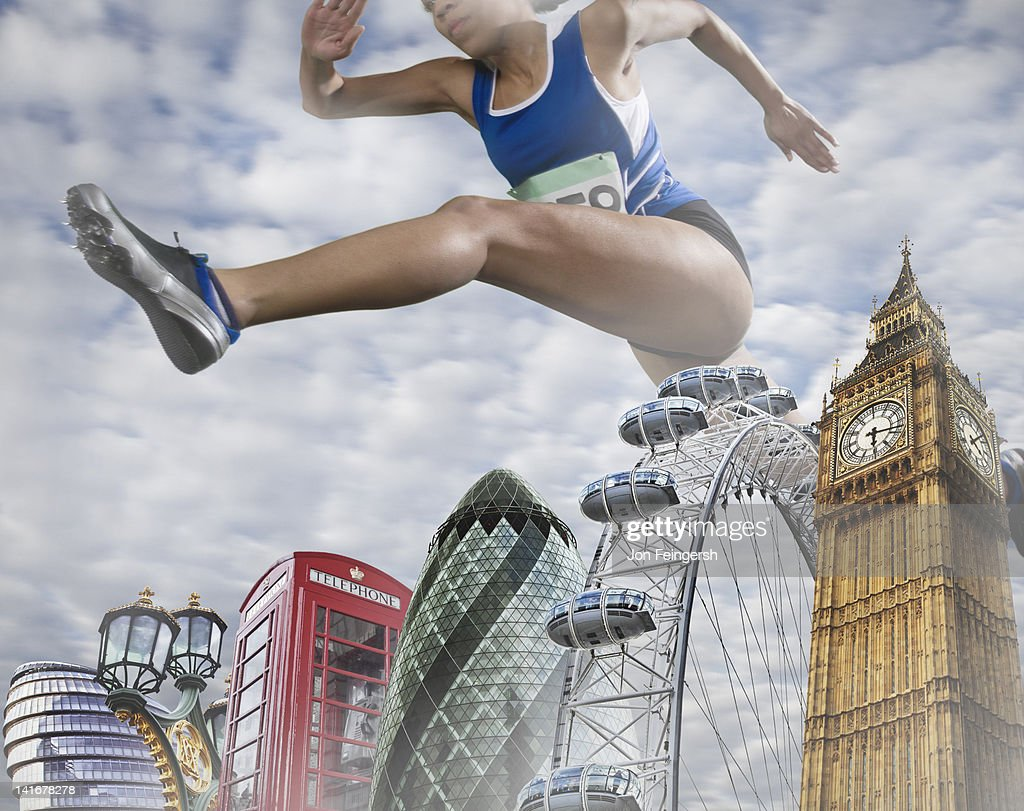 Woman Hurdling over Monuments : Stock Photo