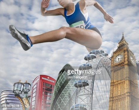 Woman Hurdling over Monuments : Stockfoto