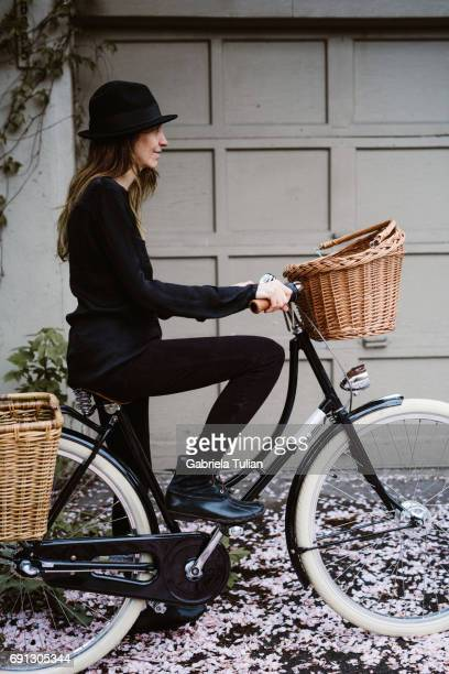 Woman in a bike during spring