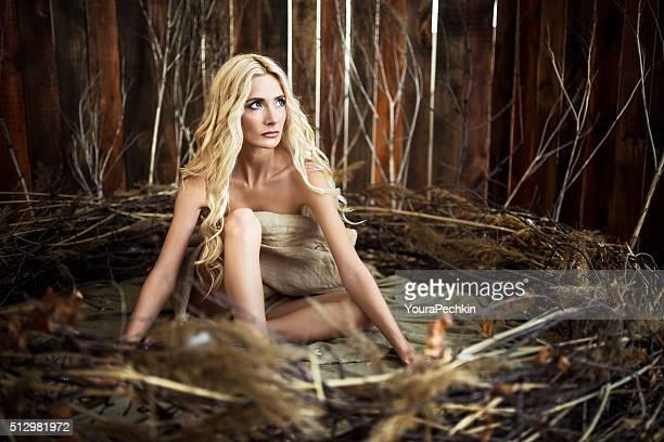 Woman in a bird's nest
