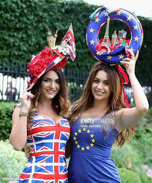 A woman in a 'Brexit vote' themed hat arrives at Royal Ascot 2016 at Ascot Racecourse on June 14 2016 in Ascot England