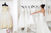 Woman in a bridal shop looking at wedding dresses.