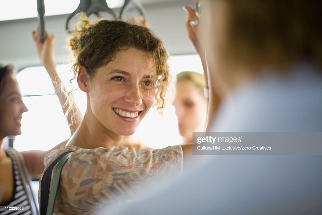 Woman in a bus : Stock Photo