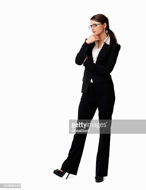 Woman in a business suit with hand on chin