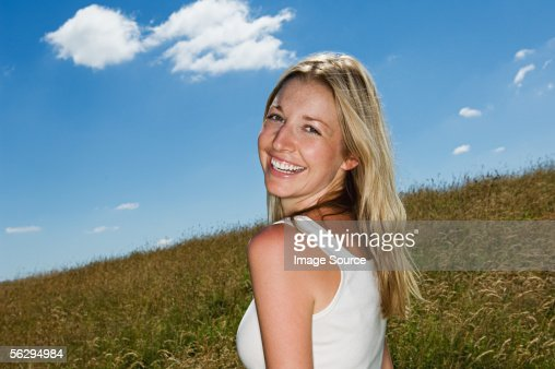 Woman in a field : Stock Photo