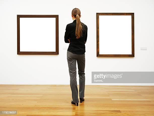 woman in a gallery (clipping path)