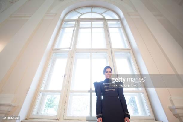 Woman in a gothic uniform