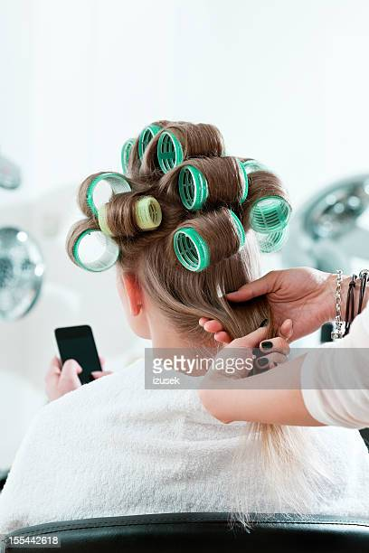 Woman in a hair salon