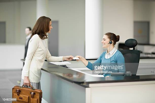 Woman in a lobby