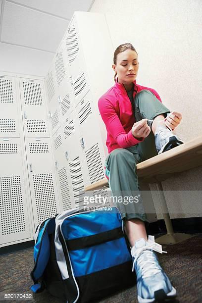 Woman in a locker room