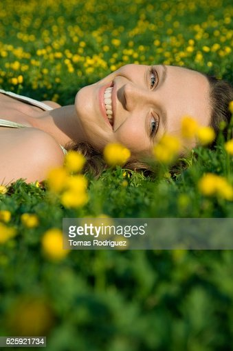 Woman in a Meadow : Bildbanksbilder