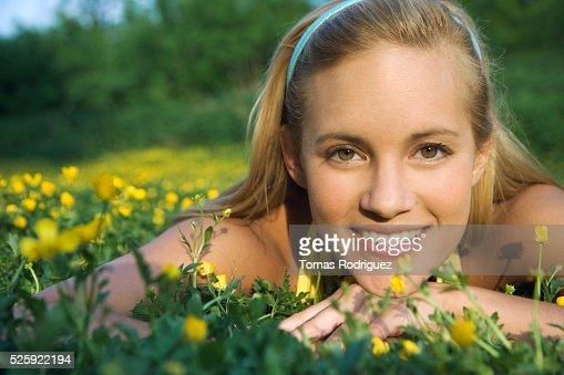 Woman in a Meadow : Foto de stock