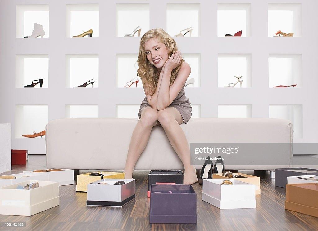 Woman in a shoe shop