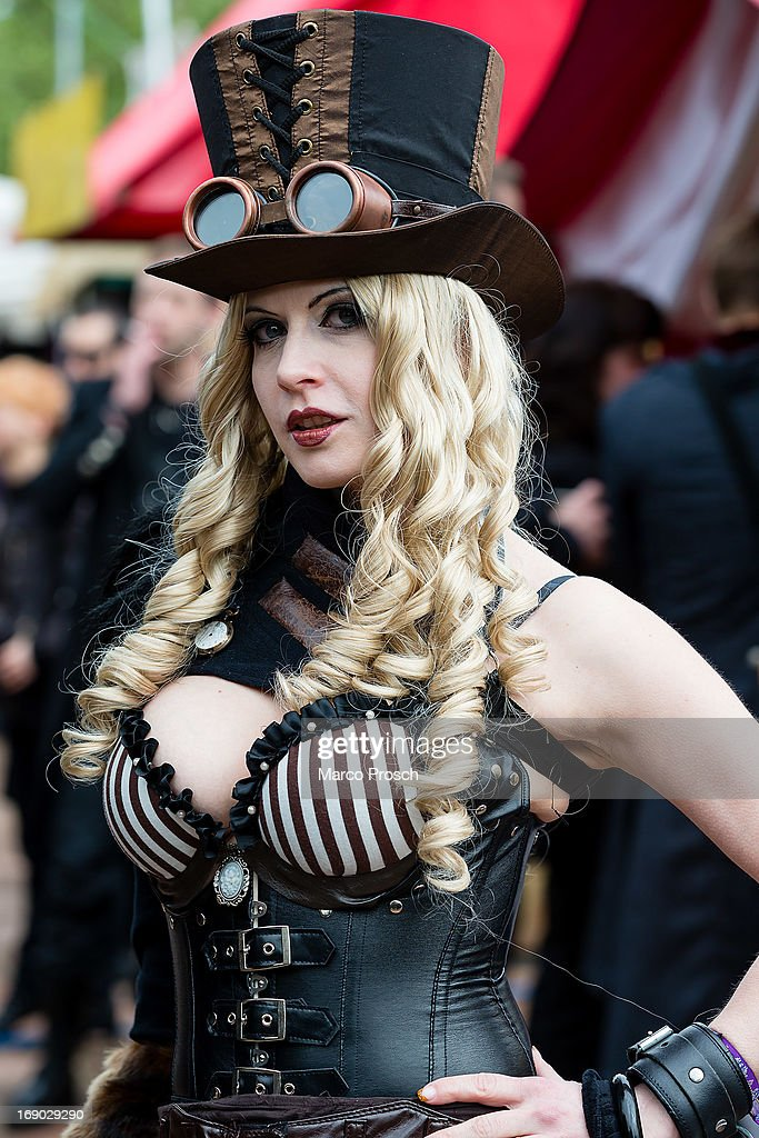 A woman in a steam punk outfit attends the second day of the annual Wave-Gotik Treffen, or Wave and Goth Festival, on May 18, 2013 in Leipzig, Germany. The four-day festival, in which elaborate fashion is a must, brings together over 20,000 Wave, Goth and steam punk enthusiasts from all over the world for concerts, readings, films, a Middle Ages market and workshops.