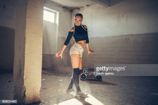 Woman in abandoned room