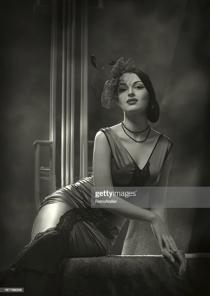 Woman in an old Hollywood film noir glamour style photo : Stock Photo