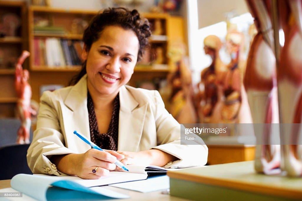 Woman in Anatomy Class