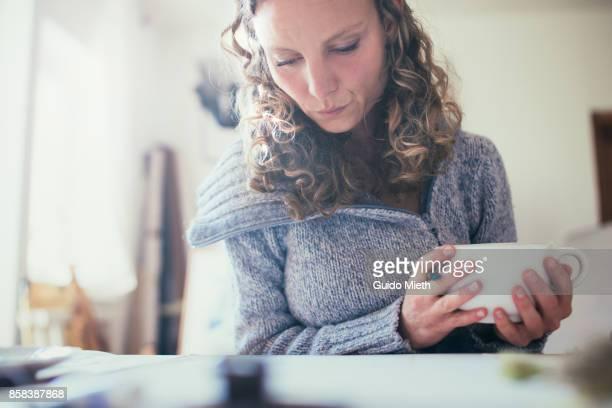 Woman in artist stuio.