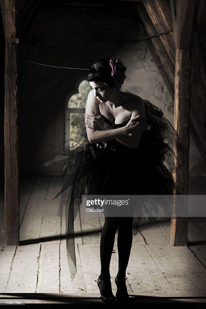 Woman in ballet dress