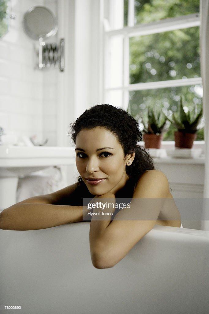 Woman in bath. : Stock Photo