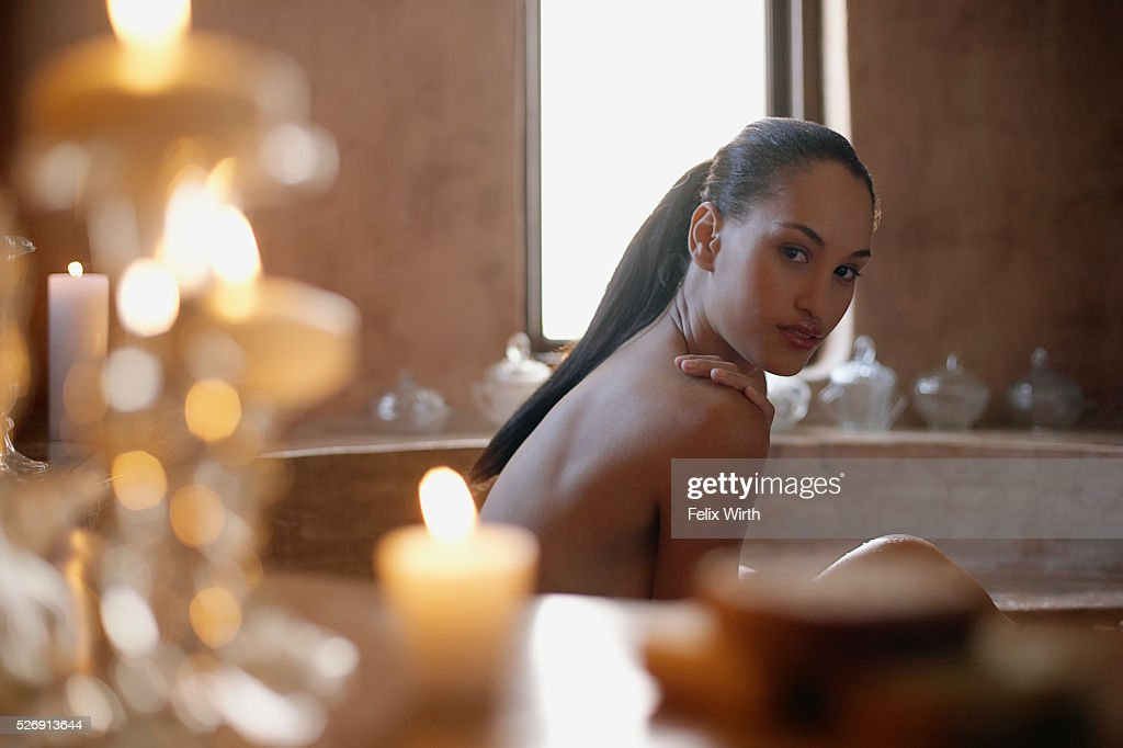 Woman in bathtub : Stock Photo