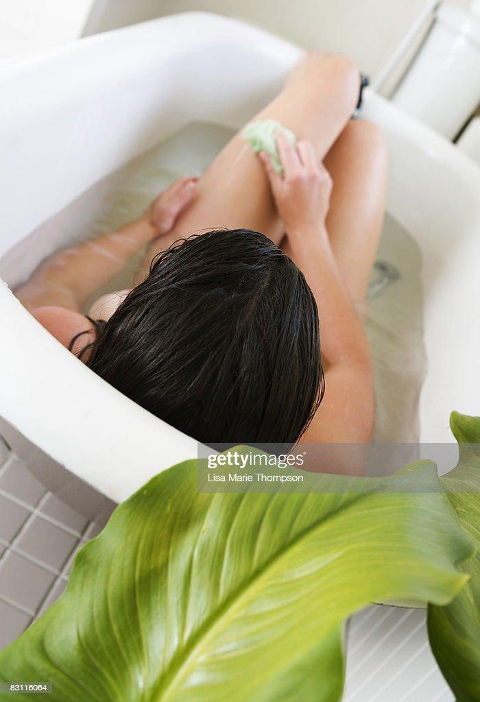 Woman in bathtub : Stock Photo