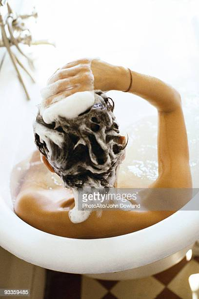 Woman in bathtub shampooing hair, rear view