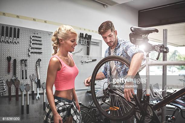 Woman in bicycle store