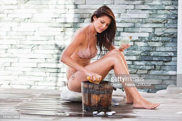 Woman in bikini at a spa