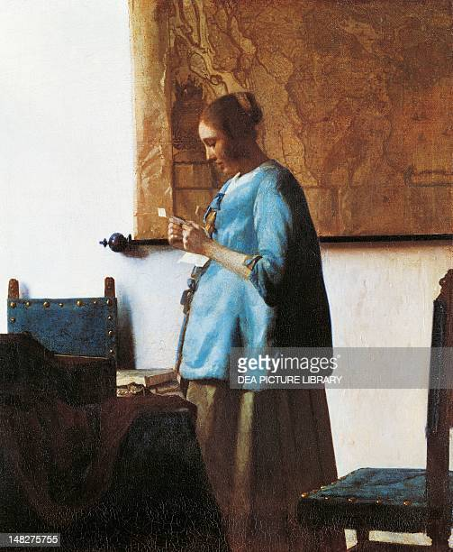 Woman in blue reading a letter by Jan Vermeer oil on canvas 46x39 cm Amsterdam Rijksmuseum