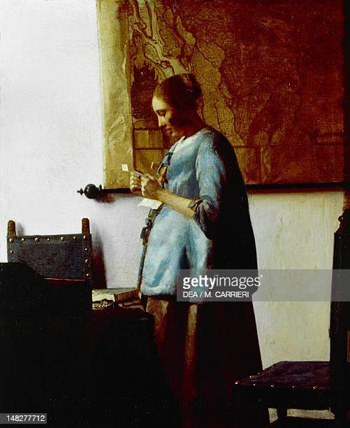 Woman in blue reading a letter by Jan Vermeer oil on canvas 47x39 cm Amsterdam Rijksmuseum