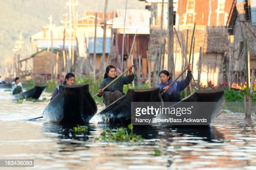 Woman in Boats in Inle Lake Myanmar. : Stock Photo