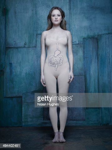 woman in body suit with intestine illustration