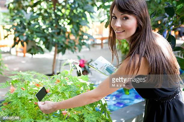 Woman in botanical garden