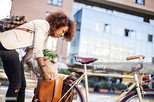Woman in business busy city life