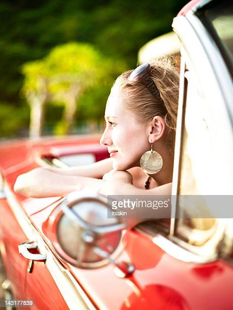 Woman in cabriolet