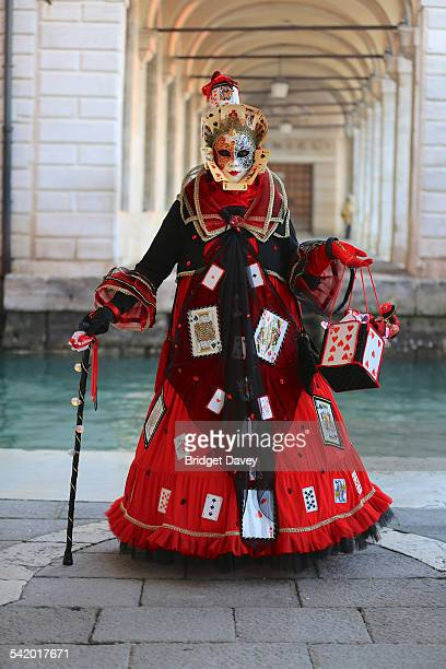 Woman in Card Costume Venice Carnival Carnival di Venezia in Venice Italy Annual festival in Venice ends with celebration of Lent 40 days before...