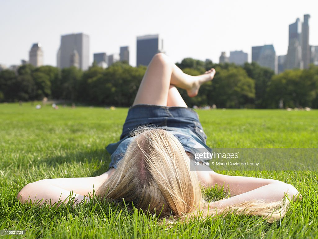 Woman in central park, enjoying the view : Stock Photo