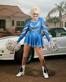 Woman in cheerleader uniform