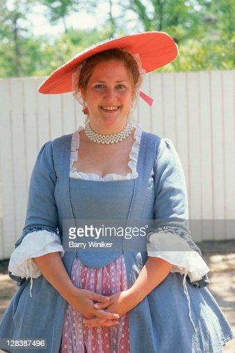 Woman in Colonial Williamsburg attire