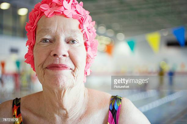 Woman in Colorful Bathing Cap