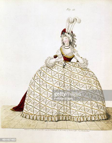 Woman in court dress 1795 She wears a turban trimmed with dyed plumes and jet ornaments Taken from Heideloff's Gallery of Fashion