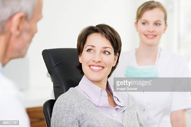 Woman in dentists office