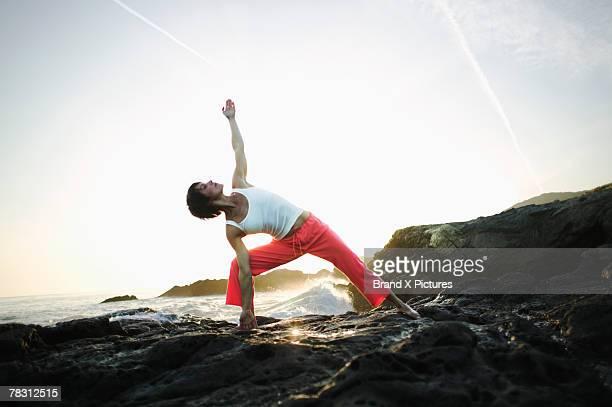 Woman in doing yoga