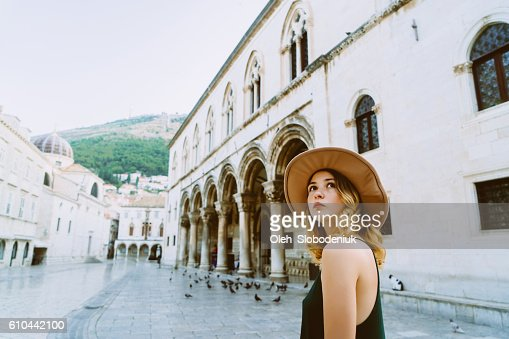 Woman in Dubrovnik od town