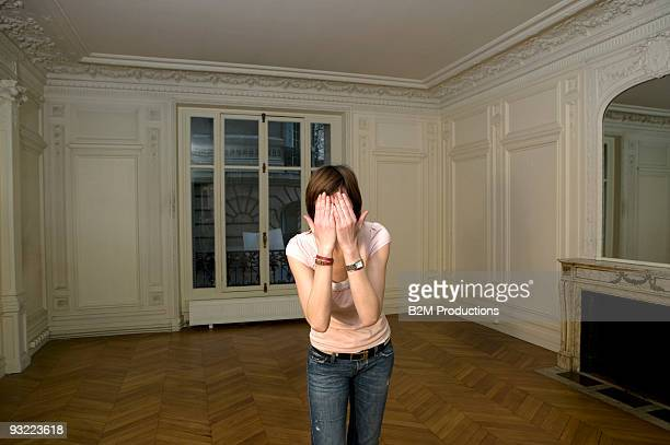 Woman in empty room