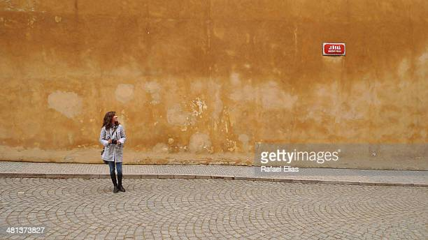Woman in empty street